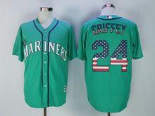 Mens Majestic Mlb Seattle Mariners #24 Ken Griffey Jr Green Usa Flag Jersey