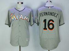 Mens Majestic Mlb Miami Marlins #16 Jose Fernandez Gray Flex Base Jersey