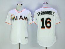 Mens Majestic Mlb Miami Marlins #16 Jose Fernandez White Flex Base Jersey