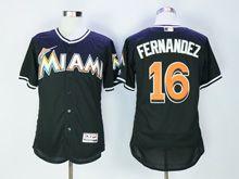 Mens Majestic Mlb Miami Marlins #16 Jose Fernandez Black Flex Base Jersey
