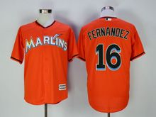 Mens Mlb Miami Marlins #16 Jose Fernandez Orange Cool Base Jersey