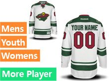 Mens Women Youth Reebok Minnesota Wild White Away Premier Current Player Jersey