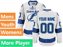 Mens Women Youth Reebok Tampa Bay Lightning White Away Premier Current Player Jersey