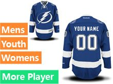 Mens Women Youth Reebok Tampa Bay Lightning Royal Blue Home Premier Current Player Jersey