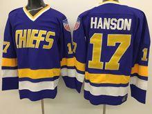 Mens Slap Shot Charlestown Chiefs #17 Steve Hanson Blue Movie Hockey Jersey