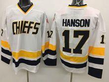 Mens Slap Shot Charlestown Chiefs #17 Steve Hanson White Movie Hockey Jersey