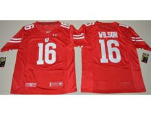 Mens Ncaa Nfl Wisconsin Badgers #16 Russell Wilson Red Limited Jersey
