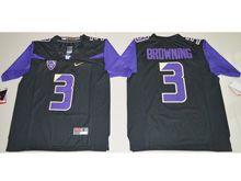Mens Ncaa Nfl Washington Huskies #3 Jake Browning Black Limited Jersey