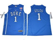 Mens Ncaa Nba Duke Blue Devils #1 Harry Giles Blue (2017 V Neck) Jersey