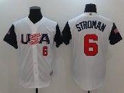 Mens Mlb Usa Team 2017 Baseball World Cup #6 Stroman White Jersey