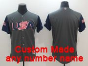 Mens Mlb Usa Team 2017 Baseball World Cup Custom Made Grey Jersey