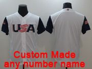 Mens Mlb Usa Team 2017 Baseball World Cup Custom Made White Jersey