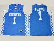Mens Ncaa Nba Kentucky Wildcats #1 John Calipari Royal Blue College Basketball Jersey