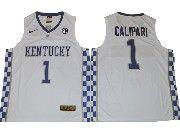 Mens Ncaa Nba Kentucky Wildcats #1 John Calipari White College Basketball Jersey