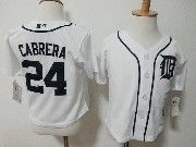 Kids Mlb Majestic Detroit Tigers #24 Miguel Cabrera White Jersey