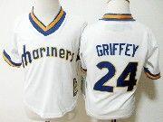 Kids Majestic Mlb Seattle Mariners #24 Ken Griffey White Jersey