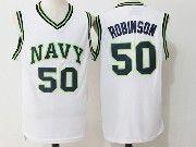 Mens Ncaa Nba San Antonio Spurs #50 David Robinson White Naval Academy Navy Midshipmen College Basketball Jersey