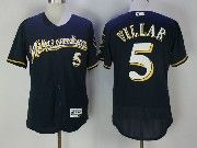 Mens Majestic Mlb Milwaukee Brewers #5 Jonathan Villar Blue Flex Base Jersey