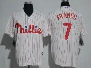 Mens Majestic Philadelphia Phillies #7 Maikel Franco White Stripe Cool Base Jersey