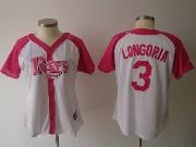 Women  Mlb Tampa Bay Rays #3 Longoria Pink Splash Fashion Jersey