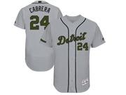 Mens Mlb Detroit Tigers #24 Miguel Cabrera Grey 2017 Memorial Day Flex Base Jersey