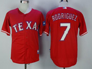 Mens Majestic Mlb Texas Rangers #7 Ivan Rodriguez Red Cool Base Jersey