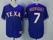 Mens Majestic Mlb Texas Rangers #7 Ivan Rodriguez Blue Cool Base Jersey