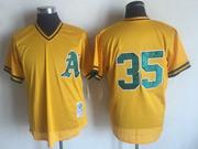 Mens Mlb Oakland Athletics #35 Rickey Henderson Yellow Mitchell&ness Pullover Mesh Throwbacks Jersey