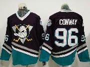 Mens Ccm Nhl Anaheim Mighty Ducks #96 Charlie Conway Black Throwback Jersey