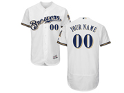 Mens Majestic Milwaukee Brewers Custom Made Full White Alternate Home Flex Base Jersey