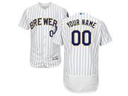 Mens Majestic Milwaukee Brewers Custom Made White Stripe Alternate Flex Base Jersey