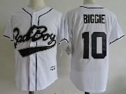 Mens Nba Biggie Smalls Bad Boy #10 Movie White Baseball Jersey