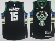 Mens Nba Milwaukee Bucks #15 Greg Monroe Black Fashion Jersey