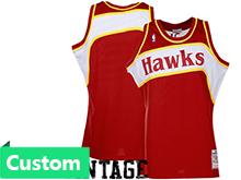 Nba Atlanta Hawks (custom Made) Red Hardwood Throwback Jersesy