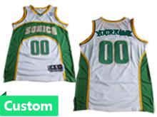 Mens Nba Seattle Supersonics Custom Made White & Green Jersey