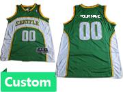 Mens Nba Seattle Supersonics Custom Made Green & White Jersey