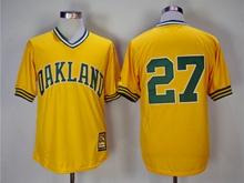 Mens Mlb Oakland Athletics #27 Catfish Hunter Yellow Pullover Throwbacks Jersey