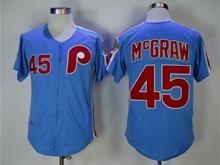 Mens Mlb Philadelphia Phillies #45 Mcgraw Blue 1983 Throwbacks Zipper Jersey
