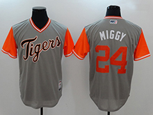 Mens Mlb Detroit Tigers #24 Miguel Cabrera ( Miggy) Majestic Gray 2017 Players Weekend Authentic Jersey