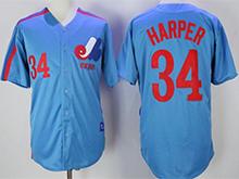 Mens Mlb Montreal Expos #34 Bryce Harper Blue Throwbacks Cool Base Jersey