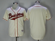 Mens Mlb Milwaukee Brewers Blank White Turn Back Jersey(red Word)