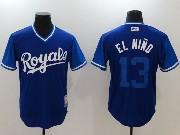 Mens Majestic Kansas City Royals #13 El Nino Blue 2017 Players Weekend Jersey