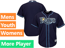 Mens Womens Youth Majestic Tampa Bay Rays Navy Cool Base Current Player Jersey