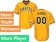 Mens Womens Youth Majestic Pittsburgh Pirates Gold Cool Base Current Player Jersey