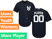 Mens Womens Youth Majestic New York Yankees Navy Blue Cool Base Current Player Jersey