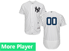 Mens Majestic New York Yankees White Stripe Flex Base Current Player Jersey