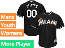 Mens Womens Youth Majestic Miami Marlins Black Cool Base Current Player Jersey