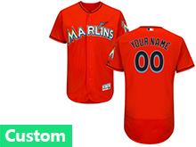 Mens Mlb Miami Marlins Custom Made Orange Flex Base Jersey