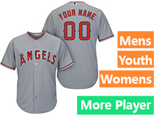 Mens Womens Youth Majestic Los Angeles Angels Gray Cool Base Current Player Jersey