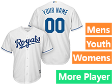 Mens Womens Youth Majestic Kansas City Royals White Cool Base Current Player Jersey